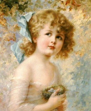 Girl Holding a Nest girl Emile Vernon Decor Art